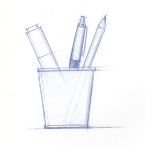 image representing an idea that Using pens and pencils to develop and concretize content